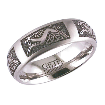 Celtic Hound & Trinity Knot Wedding Ring