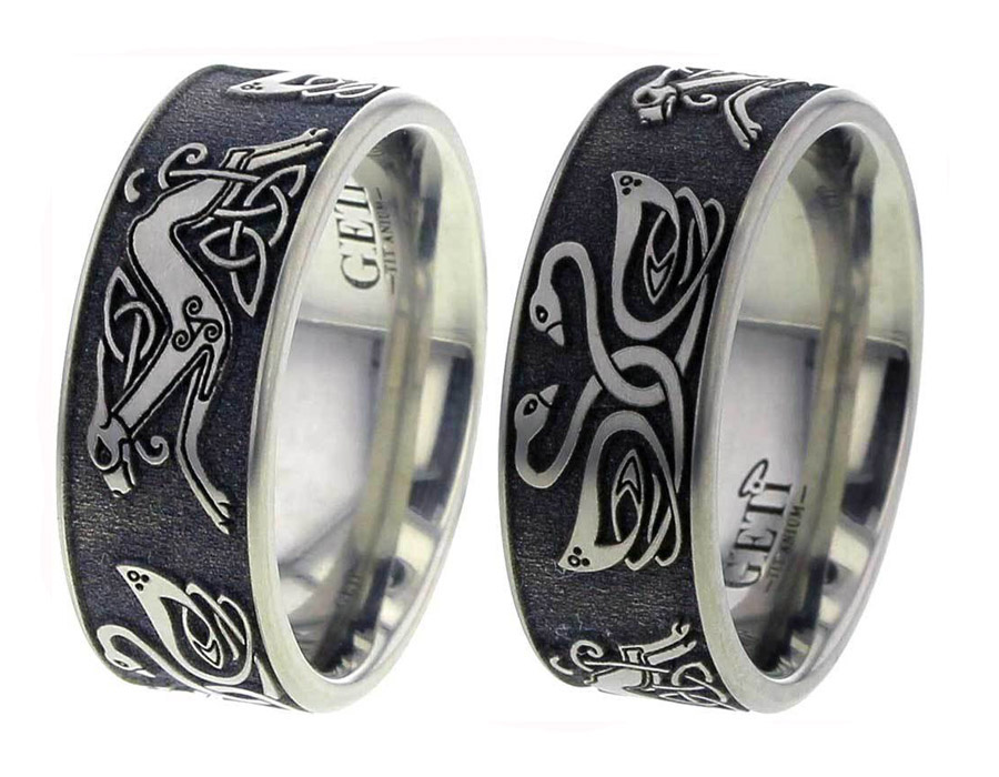 Celtic Swan and Hound Wedding Ring
