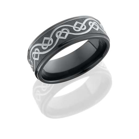 Celtic Heart Wedding Ring in Black Zirconium