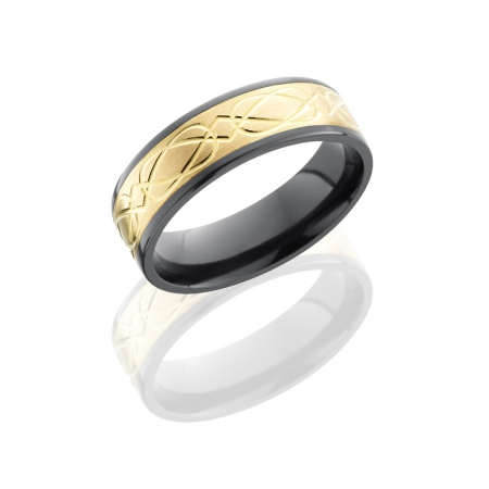 Celitc Wedding Ring with Gold Inlay