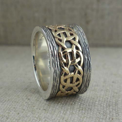 Celtic Weave Wedding Ring with Bark Edges