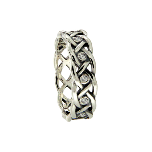 Celtic Knot Wedding Ring with Bezel Set CZs
