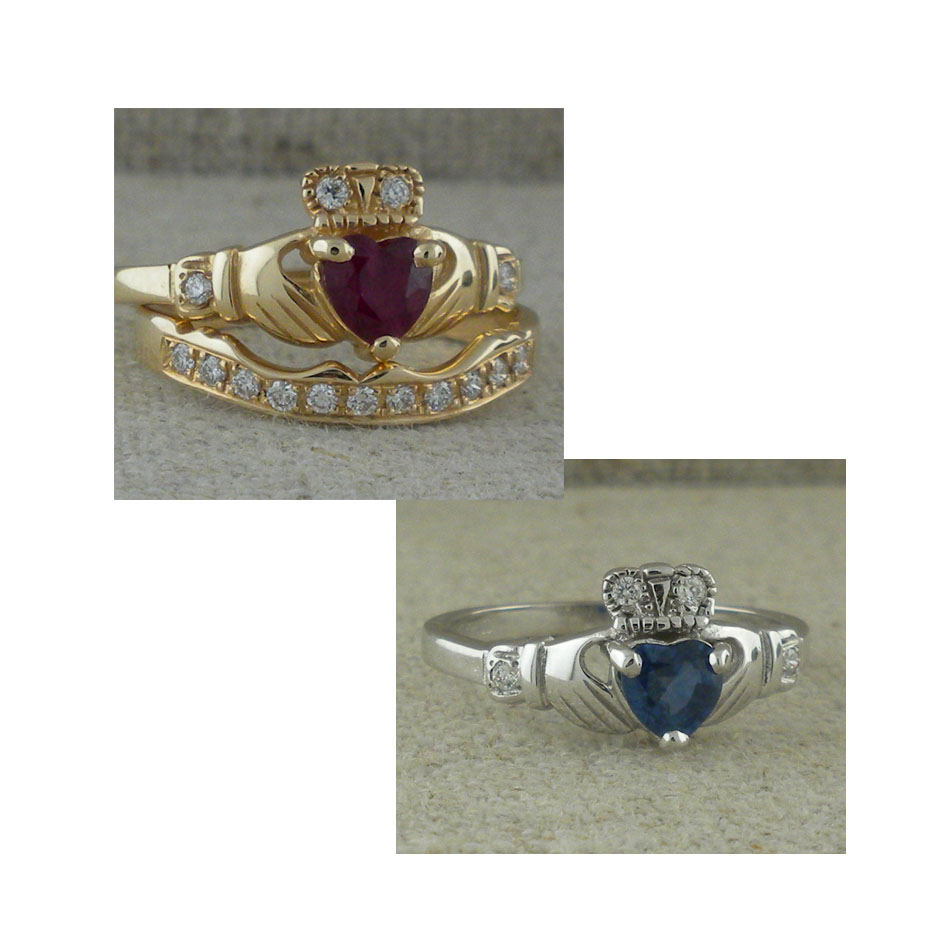Gem & Diamond Claddagh Engagement Ring