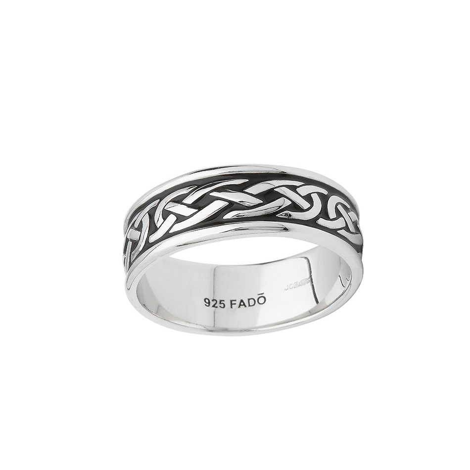 Celitc Knot Wedding Ring with Black Enamel