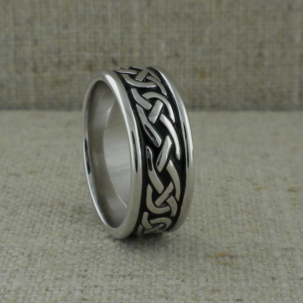 Sterling Silver Irish Wedding Ring with Black Enamel