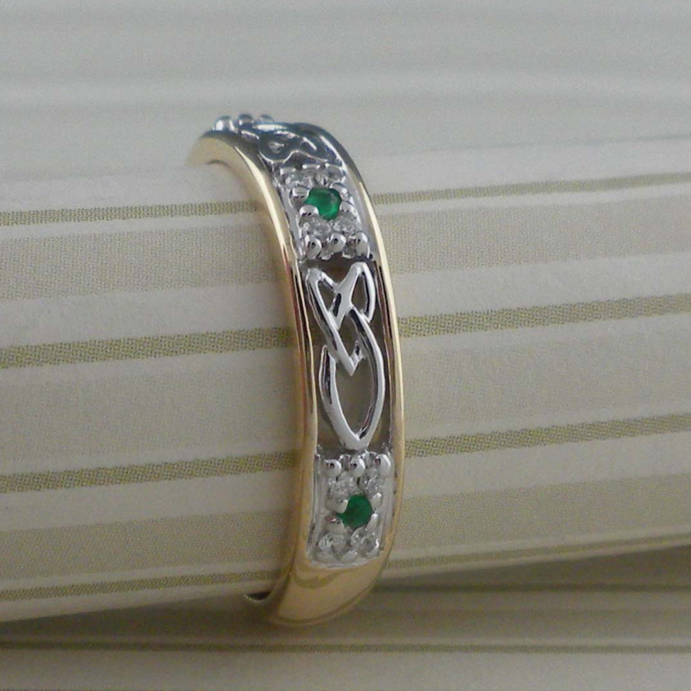 Irish Emerald & Diamond Wedding Ring