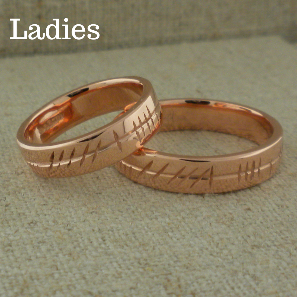 Ladies Ogham Wedding Ring in Rose Gold