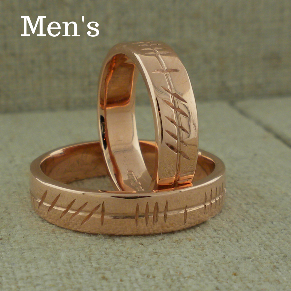 Men's Ogham Wedding Ring in Rose Gold