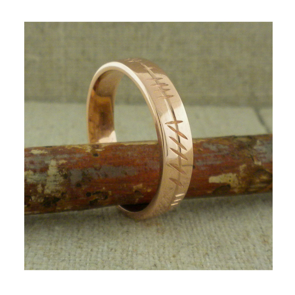 Ladies 10K Rose Gold Ogham Wedding Ring