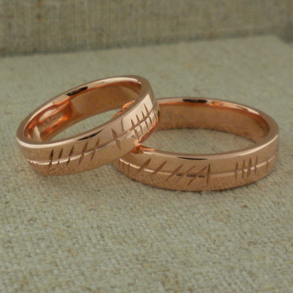 Personalized Ogham Wedding in 10K Rose Gold