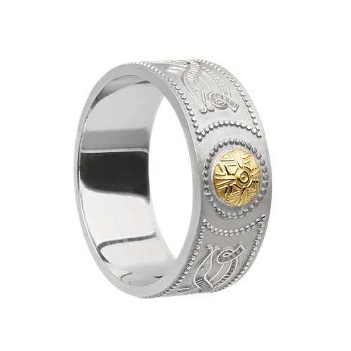 Wide Celtic Warrior Shield Wedding Band with 18K Bead