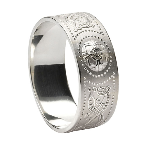 Sterling Silver 9.2 mm Celtic Warrior Shield Wedding Ring