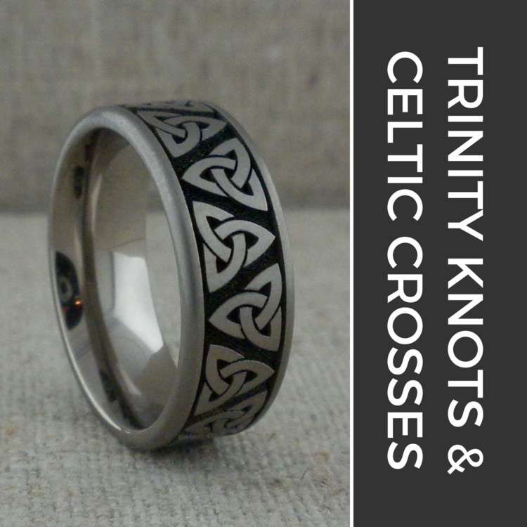 Trinity Knot & Celtic Cross Wedding Rings