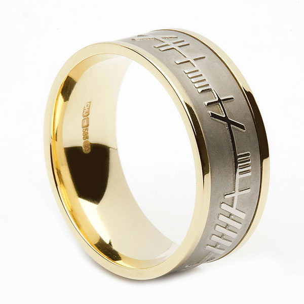 Wide Ogham Wedding Ring