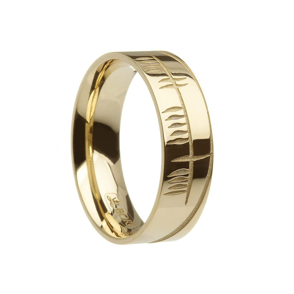 Yellow Gold Wide Ogham Wedding Ring