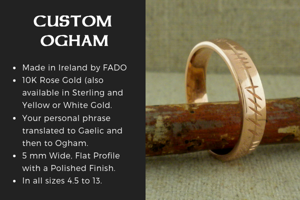 Custom Ogham Wedding Ring in Rose Gold