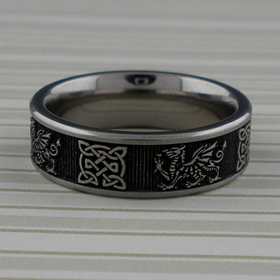 Titanium Welsh Dragon Celtic Knot Wedding Ring Unique Celtic
