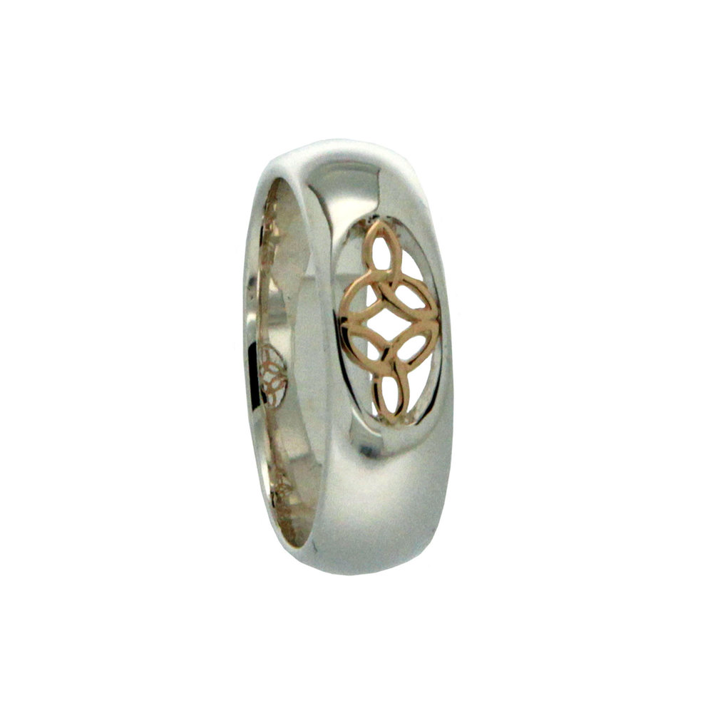 Sterling & 10K Trinity Knot Wedding Ring with Diamond