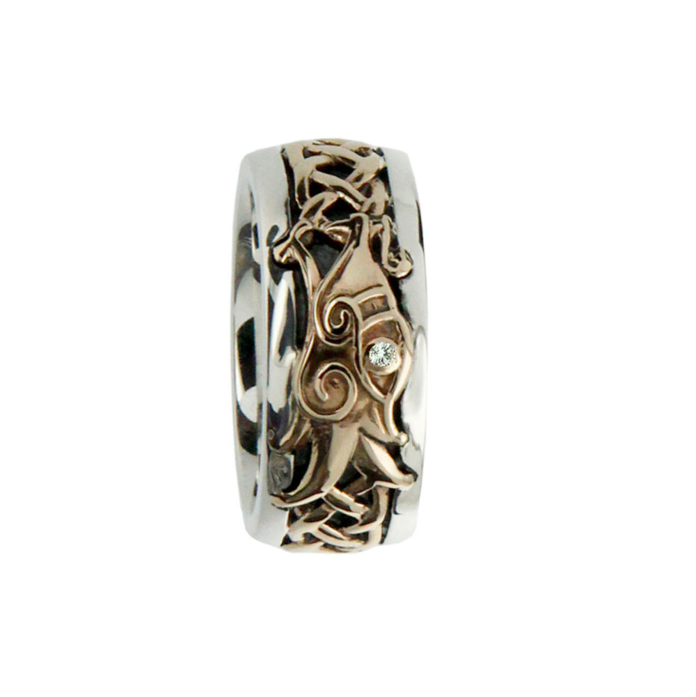 Sterling Silver and 10K Celtic Knot and Dragon Wedding Ring
