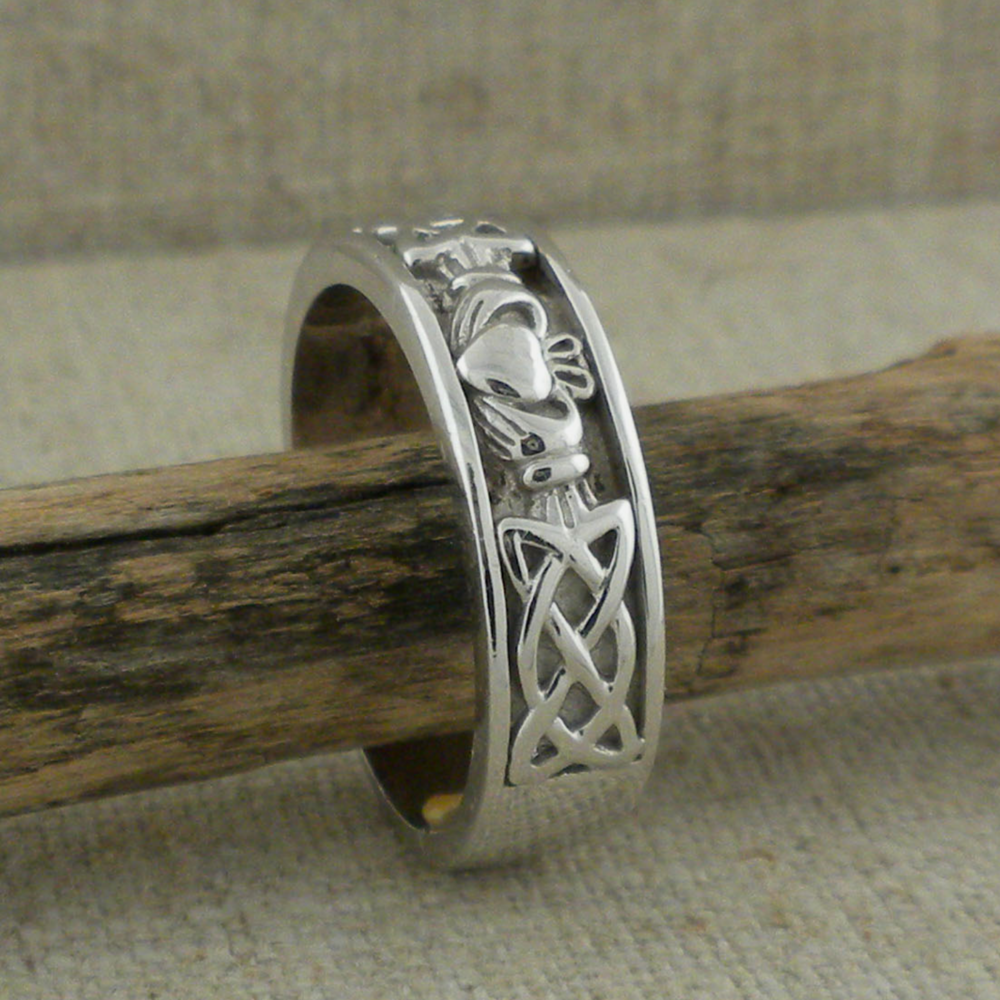 Men's Celtic Claddagh Wedding Band by Shanore