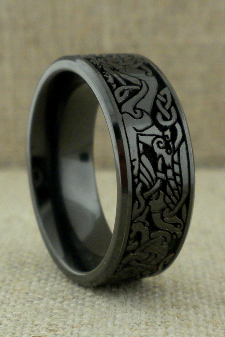 Book Of Kells Wedding Ring in Black Zirconium