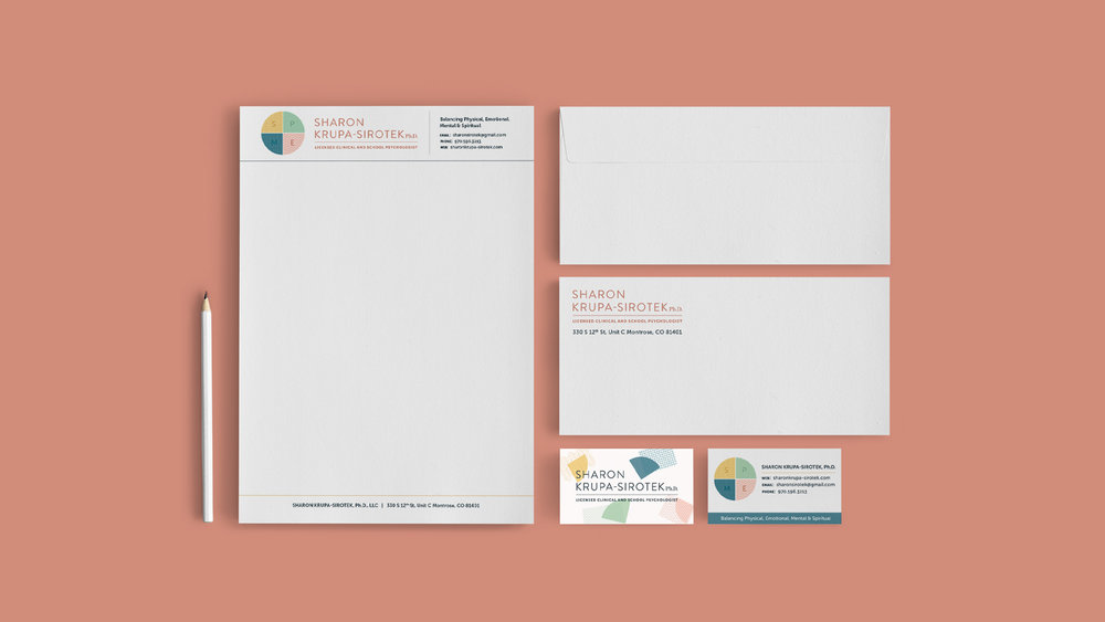We designed a full brand identity suite for Sharon Krupa-Sirotek, including business cards, branded letterhead, and an envelope