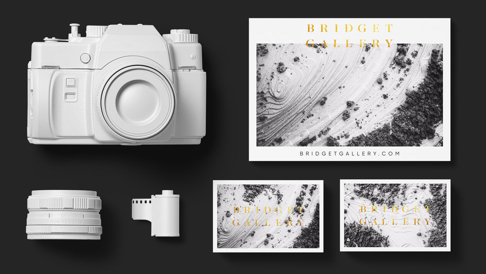 Brand collateral designed for Bridget Gallery Photography, including business cards and promotional flyer