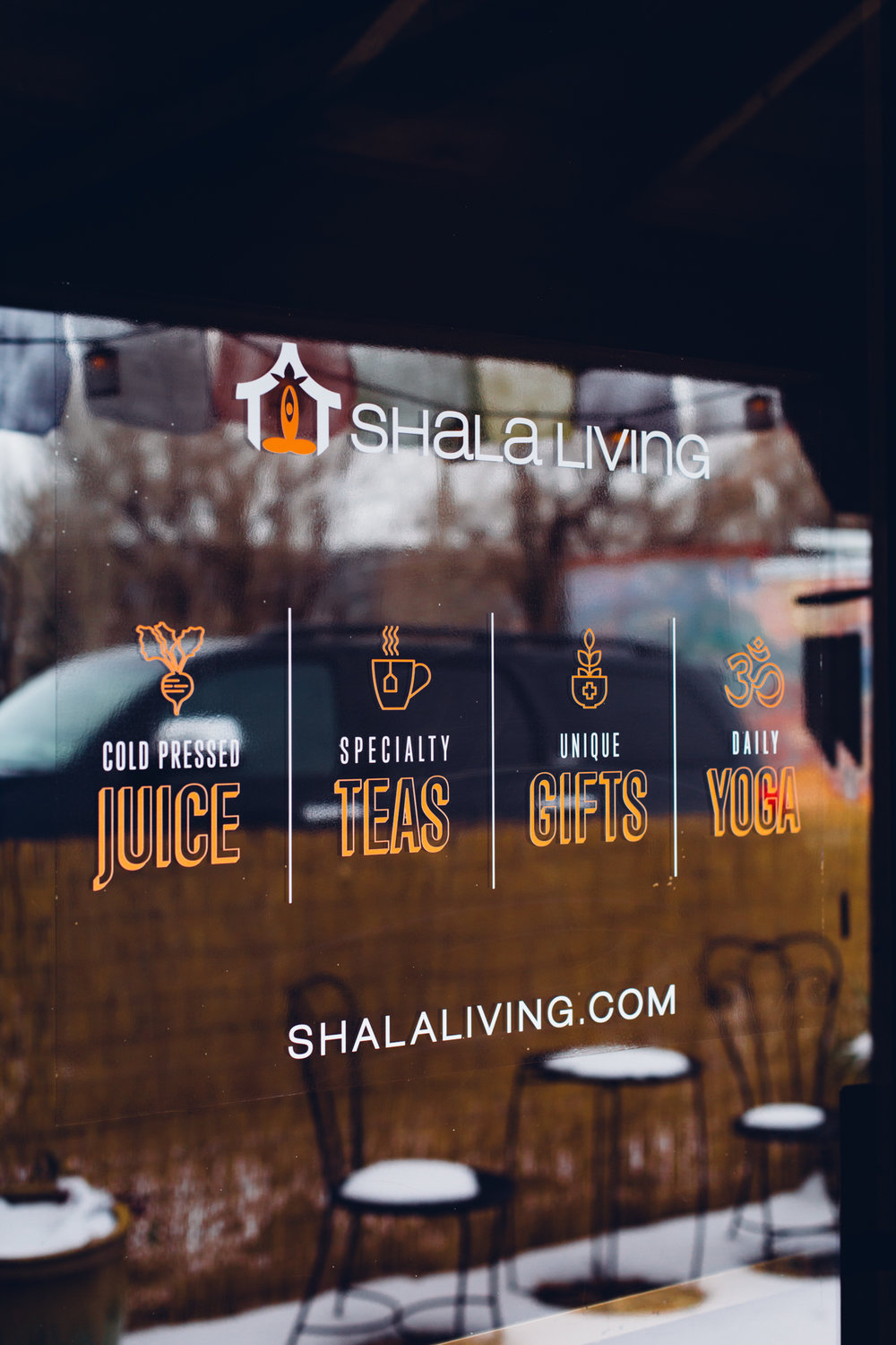 We designed and installed this vinyl for the door of the Ridgway Yoga Shala