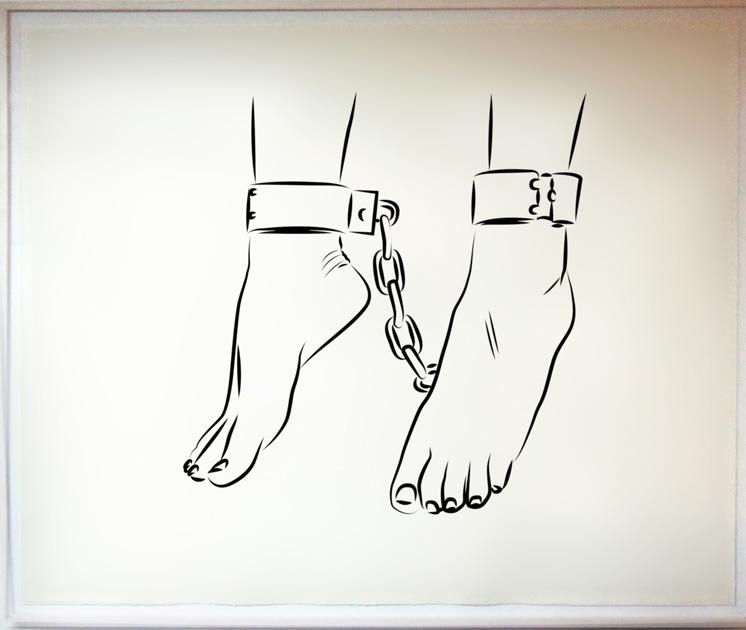 """Die Deutsche Reihe / Serie Alemana (2010-2012) / """"El camino brillante parece sombrío"""" (tinta china en papel de algodón, 140 x 170 cm)"""