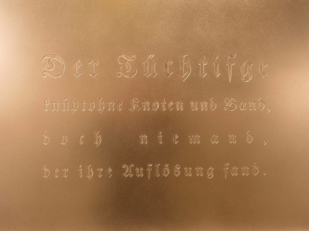 "Die Deutsche Reihe / German Series (2010-2012) / ""Good binding requires not knots, yet no one can loosen it"". Engraved copper plate (60 x 90 cm)"