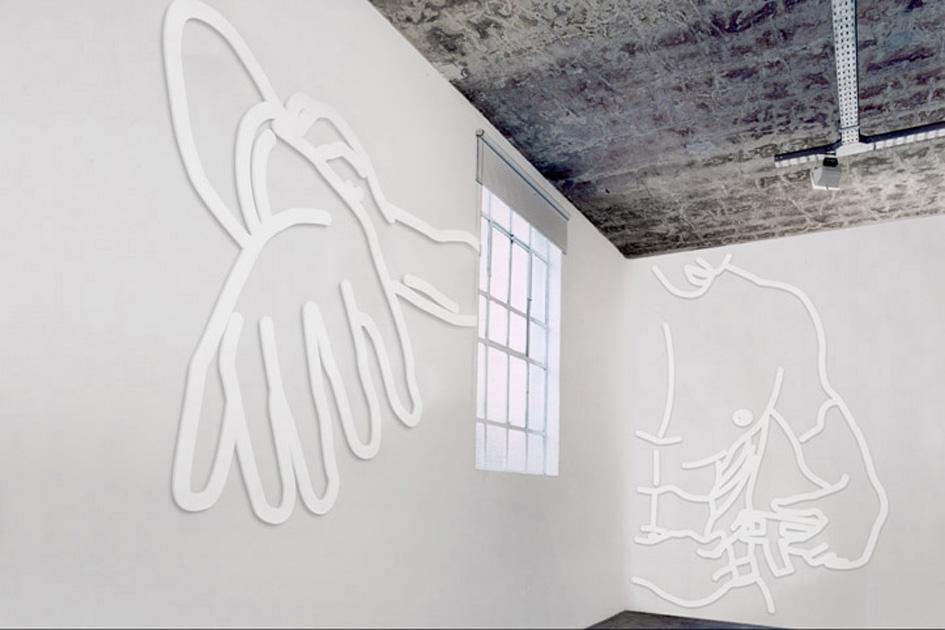 """Colossus, Gymnasts / """"Men's Health"""", Museo de Arte Moderno de Buenos Aires (2003).  Installation view"""