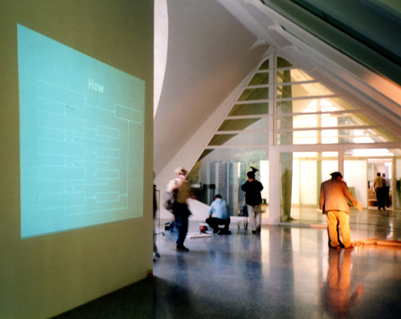 """Questions"" (1999). Digital projection (six slides). Observatori 2000.  Museo de las Artes y las Ciencias.  Valencia, Spain"