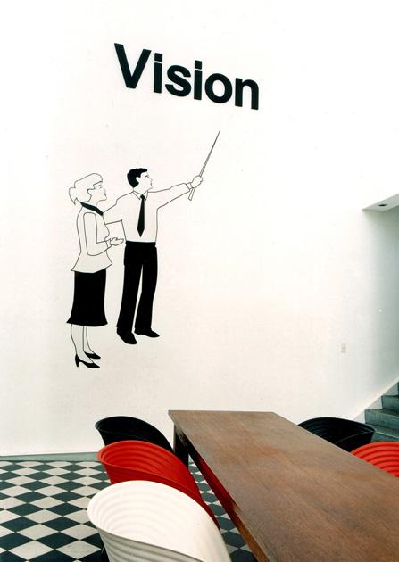 """""""Vision"""" (2001).  Instalación.  Sintra, vinilo y letras en polifán. """"Ansia y Devoción"""".  Fundación Proa (Buenos Aires).  Curador Rodrigo Alonso"""