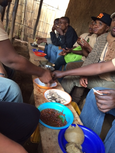Team lunch - not everyone loves the soft cassava paste that makes up much of the Congolese diet in rural villages, but I've always loved the food on research trips... Maybe it's the memories that come with it (and the nuclear-ly awesome hot sauce).
