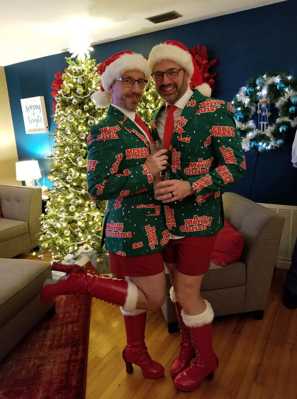 Kevin and his husband Brian at Christmas. Yes, they are THAT gay.