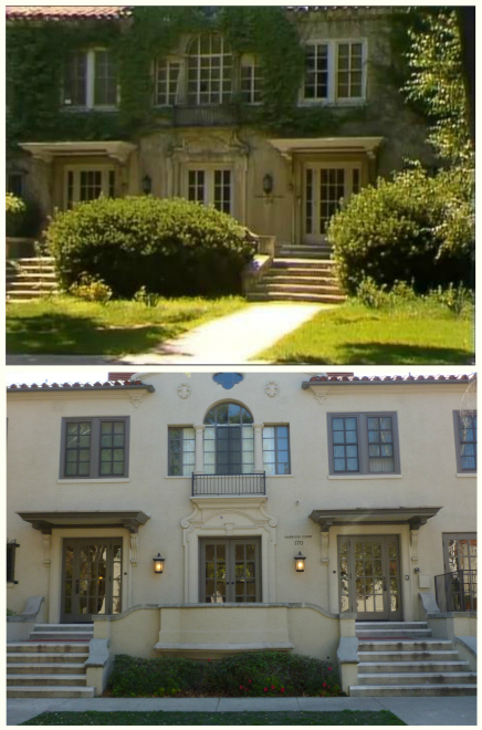 They couldn't afford a landscaper!? James is quite right that the greenery is way overgrown in the exterior shot from the FOL opening theme. Check out this comparison between then-and-now (now being 2014). The building is Harwood Court dormitory at Pomona College, located at 170 East Bonita Avenue in Claremont, California. (bottom photo by Lindsay Blake from  this article  in Los Angeles Magazine)