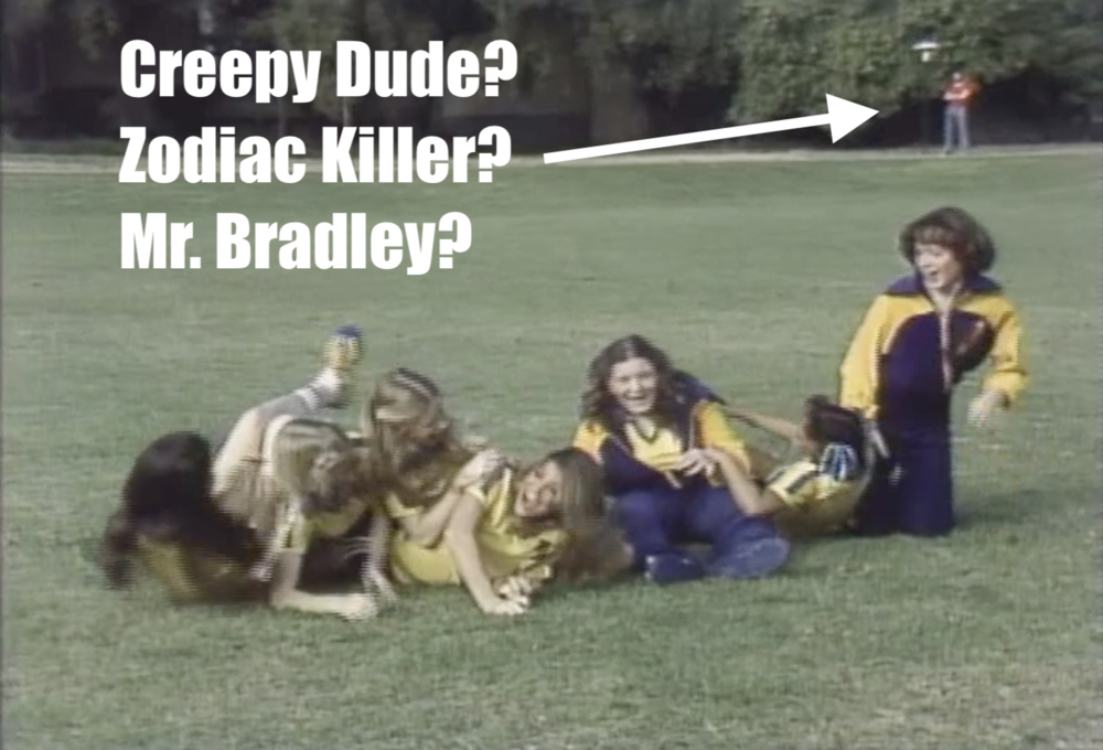 """James' other observation about the opening theme: The creepy dude in the back of this shot. OMG I can't believe I never noticed him! (BTW, these exterior shots around the """"campus"""" didn't appear until Episode 5.)"""