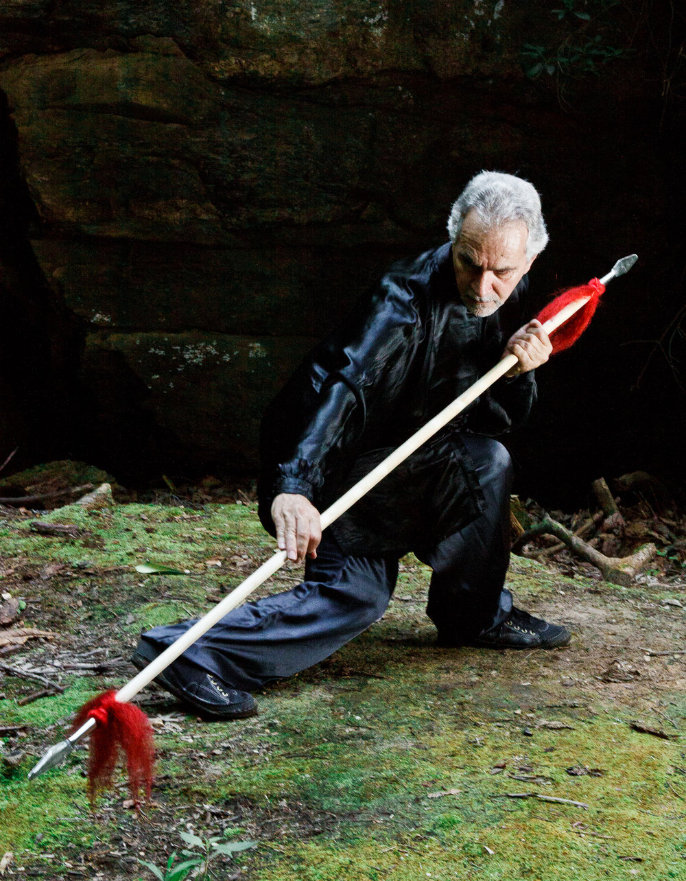 Sifu Paolillo with doubled-headed spear, 2012
