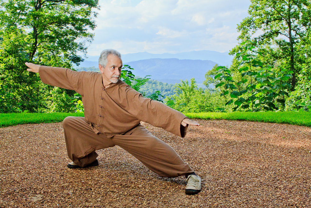 Sifu Paolillo in swallow posture at Tao Mountain Sanctuary, 2012