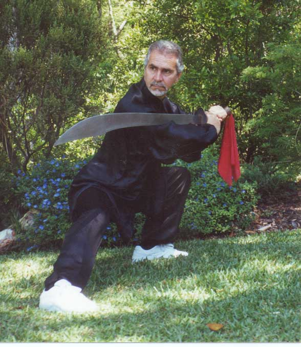 Sifu Paolillo with Bagua broadsword, late 90s