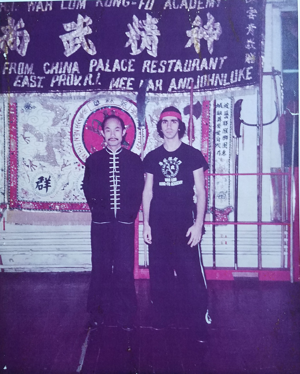 Master Paolillo and Grandmaster Chan Pui at Grandmaster Chan's Boston school in the late 70s.