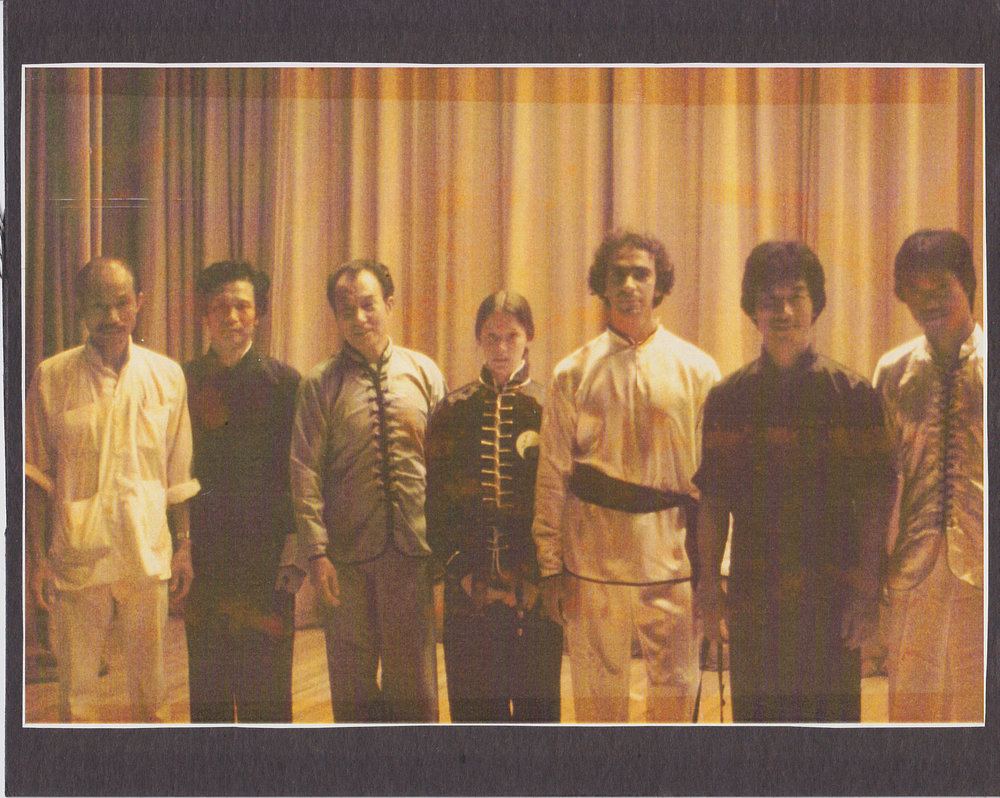 Master Paolillo with Grandmaster Chan Pui, Master Po Ahn, Master Shek Kin, Master Lee Koon Hung and Master Tat Mau Wong. Photo taken at the Masters of Hong Kong Performance at the John Hancock Hall in Boston, MA, 1979.
