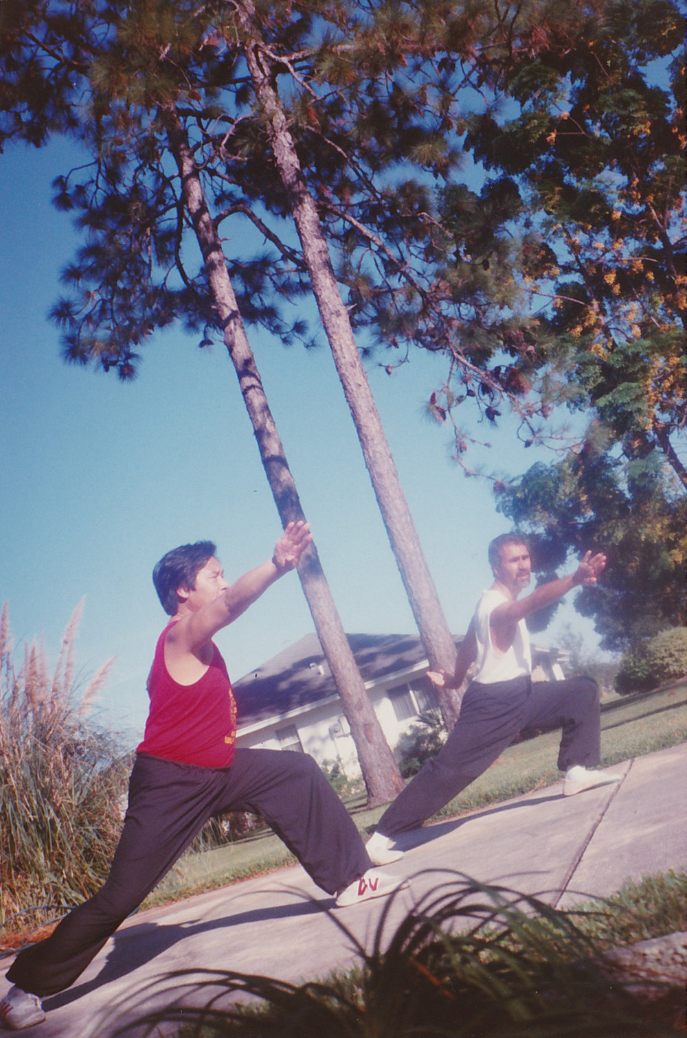 Master Paolillo learning Chen Style Pao Choi form from Master Le En Jiu in Orlando, FL 1990.