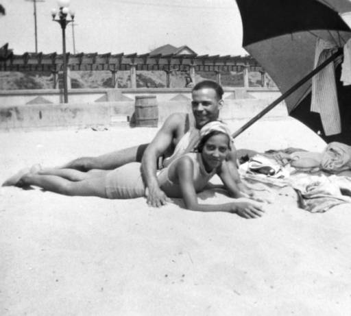 Verna and Sidney in the segregated section of Santa Monica beach known as the Ink Well in 1931.