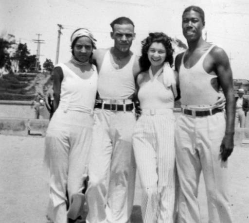 Friends Verna, Sidney, Gladys and Theopolis at the segregated section of Santa Monica beach known as the Ink Well in 1931.