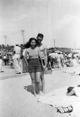 Verna and a friend at the segregated section of Santa Monica beach known as the Ink Well in 1929.