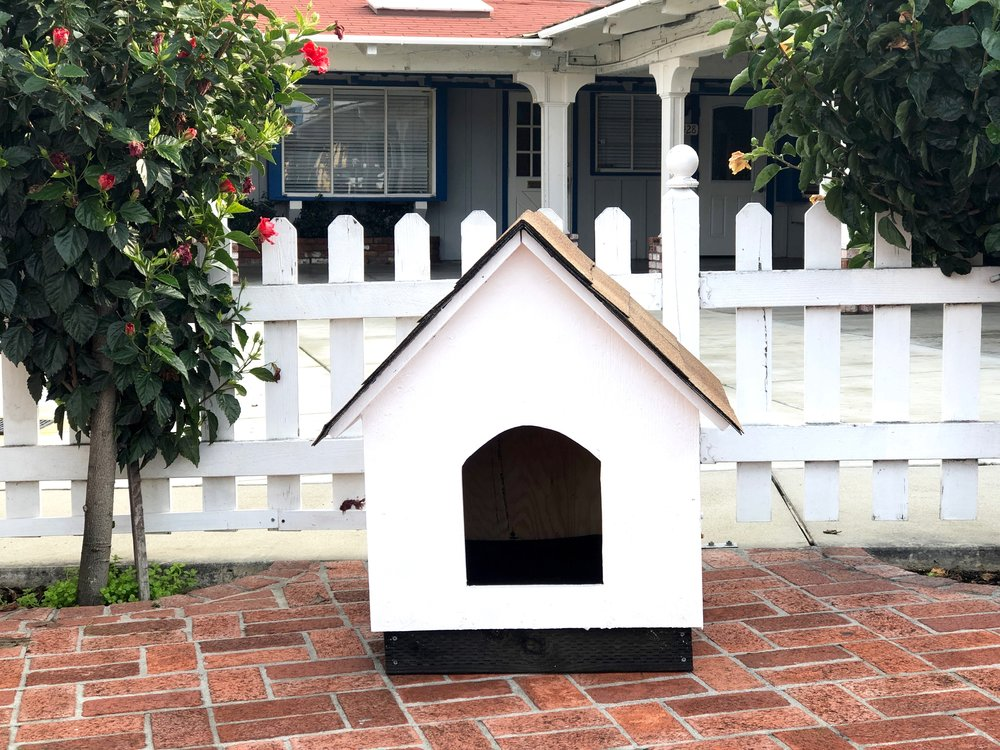 Custom-made dog houses for Pup Plaza