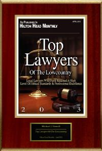 Michael J. Howell was Named as One of the Top Lawyers of the Low Country by Hilton Head Monthly for 2013
