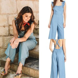 0232cf3c3a3 Genevieve is wearing a Nordstrom Chambray Apron Denim Jumpsuit. It sells  for  59 but is