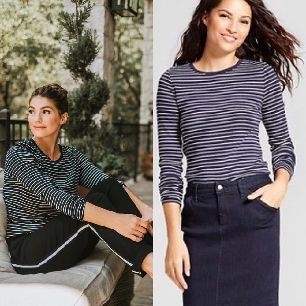 c3c3a9834b7 Genevieve is wearing a Target s A New Day Women s Striped Long Sleeve Crew  T-Shirt